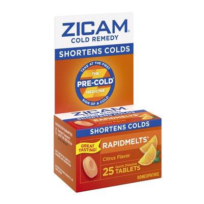 Zicam Zinc Cold Remedy Rapidmelts Quick-Dissolve Tablets Citrus Flavor 25Ct