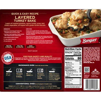 Banquet Family Size Homestyle Gravy And Sliced White Meat Turkey