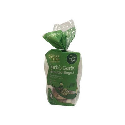 Silver Hills Bakery Sprouted Whole Grain Herb's Garlic Bagels