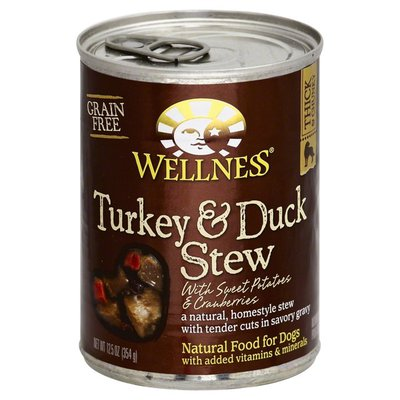 Wellness Food for Dogs, Natural, Grain Free, Turkey & Duck Stew, with Sweet Potatoes & Cranberries