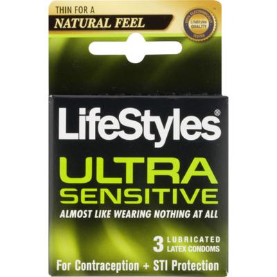 LifeStyles Lubricated Latex Condoms Ultra Sensitive - 3 CT