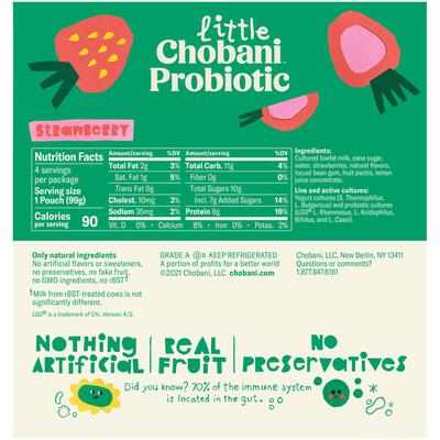 Little Chobani Probiotic Pouches Strawberry