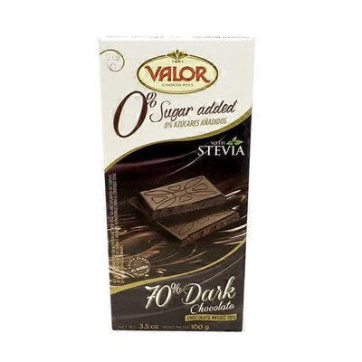 Valor Dark Chocolate, 70%, with Stevia