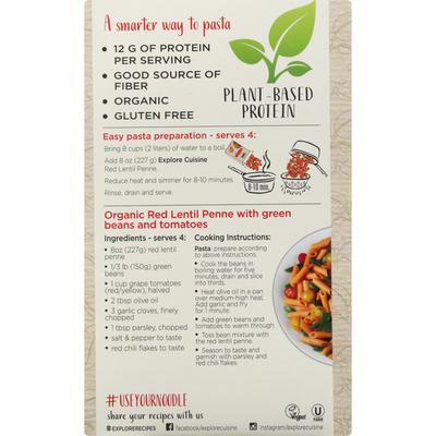 Explore Cuisine Penne, Organic, Red Lentil