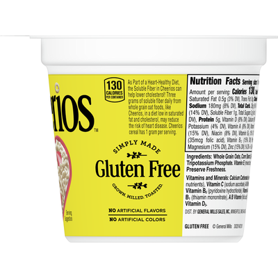 Cheerios Cups, Cereal with Whole Grain Oats, Gluten Free, 12 Count