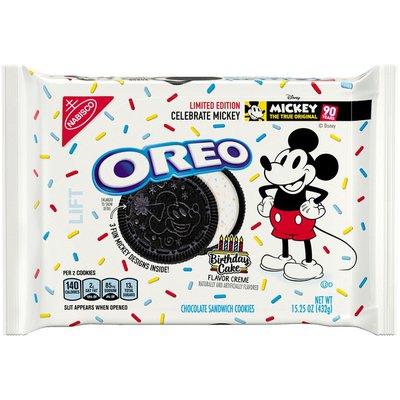 Oreo Chocolate Sandwich Cookies, Birthday Cake Flavored Creme, Special Mickey Mouse Edition, 1 Resealable Pack