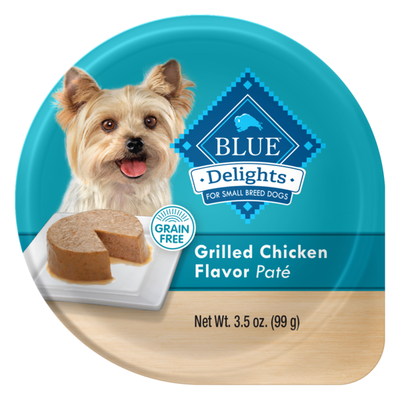 Blue Buffalo Delights Natural Adult Small Breed Wet Dog Food Cup, Grilled Chicken Flavor in Savory Juice