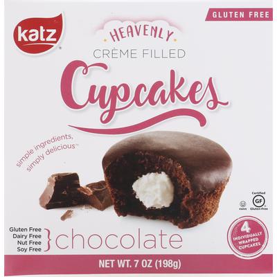 Katz Cupcakes, Gluten Free, Chocolate, Creme Filled