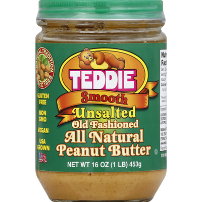 Teddie Peanut Butter, All Natural, Unsalted, Smooth