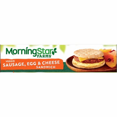 Morning Star Farms Sandwich, Plant Based Protein, Frozen Breakfast, Meatless Sausage Egg and Cheese