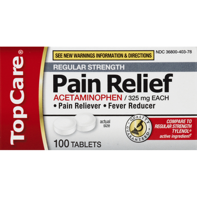 TopCare Pain Relief, Regular Strength, 325 mg, Tablets