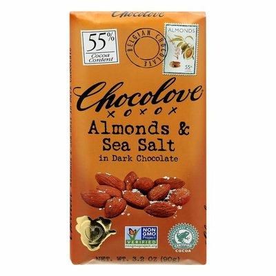 Chocolove Dark Chocolate, Almonds & Sea Salt, 55% Cocoa