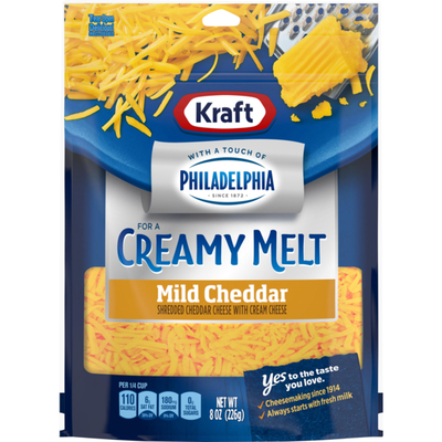 Kraft Shredded Mild Cheddar Cheese with a Touch of Philadelphia