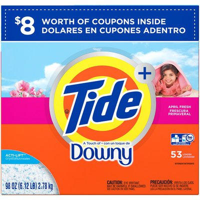 Tide With a Touch of Downy HE Turbo Powder Laundry Detergent, April Fresh Scent, 53 Loads, 98 oz Laundry