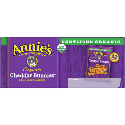 Annie's Organic Cheddar Bunnies Baked Snack Crackers, 12 Count
