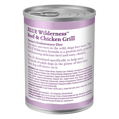 Blue Buffalo Wilderness High Protein, Natural Adult Wet Dog Food, Beef & Chicken Grill