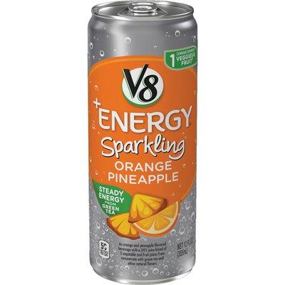 V8® Sparkling Healthy Energy Drink, Natural Energy from Tea, Orange Pineapple