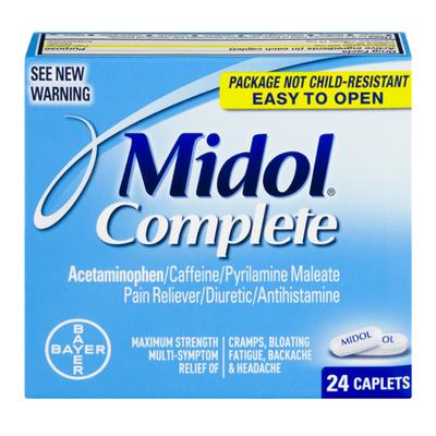 Midol Pain Reliever/Diuretic/Antihistamine, Caplets