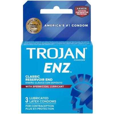 Trojan Enz Spermicidal Condoms, 3Ct