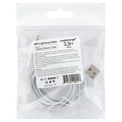 Mobilcharge MFI Lightning Cable, White, 3.3 Feet