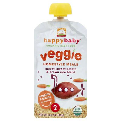 Happy Baby Organic Baby Food Stage 2 Homestyle Meals Carrot: Sweet Potato & Brown Rice Baby Food