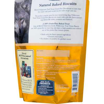 Blue Buffalo Wilderness Trail Treats High Protein Grain Free Crunchy Dog Treats Biscuits, Turkey Recipe