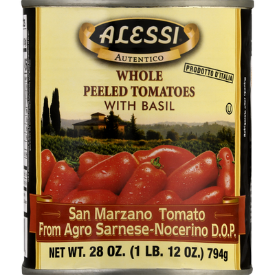 Alessi Tomatoes, with Basil, Whole, Peeled