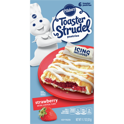 Pillsbury Toaster Strudel, Strawberry, Frozen Pastries, 6 Count