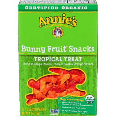 Annie's Organic Tropical Treat Bunny Fruit Snacks, Gluten Free, 5 Count