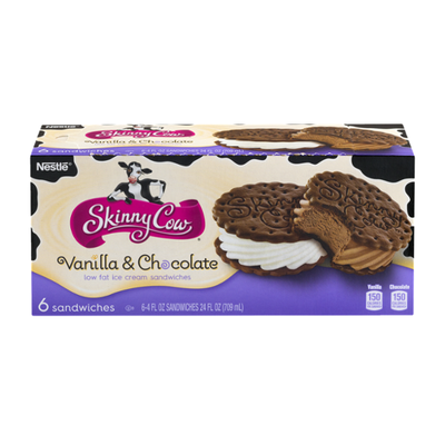 Skinny Cow The Dynamic Duo: Vanilla & Chocolate Low Fat Ice Cream Sandwiches
