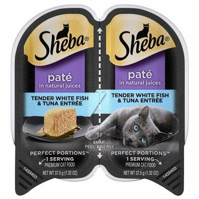 Sheba Cat Food, Premium, Tender White Fish & Tuna Entree, Pate in Natural Juices