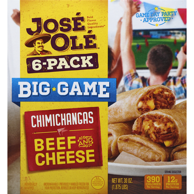 José Olé Chimichangas, Beef and Cheese, 6-Pack