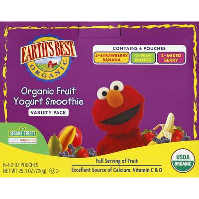 Earth's Best Yogurt Smoothie, Organic Fruit, 123 Sesame Street, Variety Pack