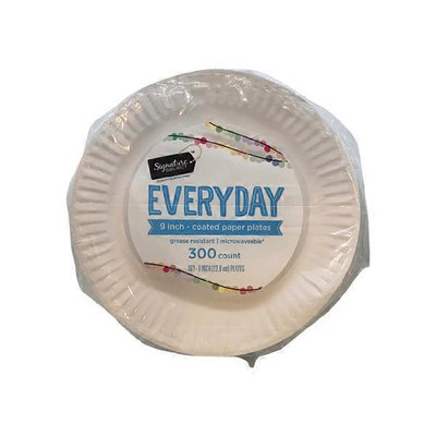 Signature Home Everyday Coated Paper Plates Family Pack Grease Resistant Microwaveable 9 Inch