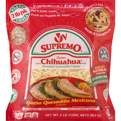 V&V Supremo Cheese, Chihuahua, Shredded Quesadilla, Party Pack