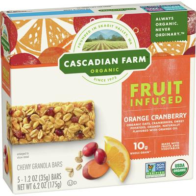Cascadian Farm Organic, Orange Cranberry Chewy Granola Bar, 5 Bars