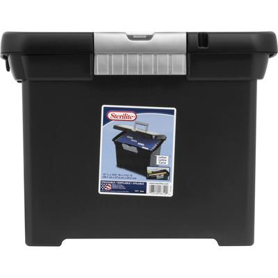 Sterilite Portable File Box, Letter, Black