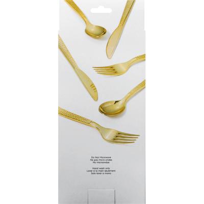 Sensations Cutlery Set, Assorted, Hammered, Gold Metallic