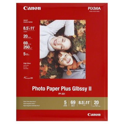 Canon Photo Paper, Plus, Glossy II, 8.5 x 11 Inch (Letter)