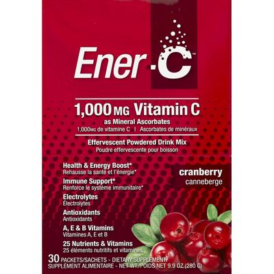 EnerC Effervescent Powdered Drink Mix, Vitamin C, 1000 mg, Cranberry