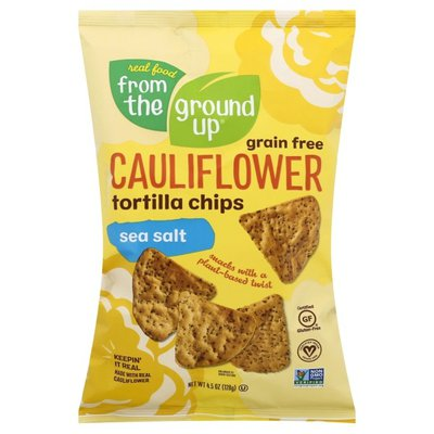 Real Food From The Ground Up Tortilla Chips, Cauliflower, Grain Free, Sea Salt