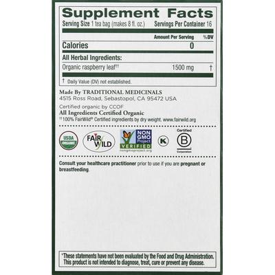 Traditional Medicinals Organic Raspberry Leaf Herbal Tea, Caffeine Free