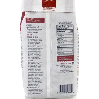 DeLallo Whole Wheat, Organic, Penne Rigate