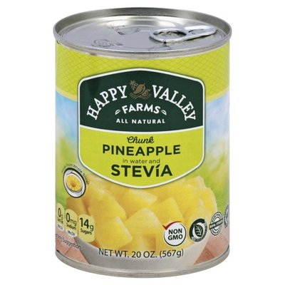 Happy Valley Farms Pineapple, in Water and Stevia, Chunks