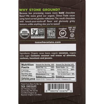 Taza Chocolate Dark Chocolate, Organic, Wick Dark, with Toasted Coconut