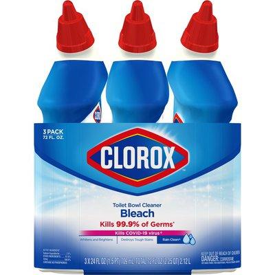 Clorox Toilet Bowl Cleaner, with Bleach, Rain Clean Scent