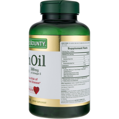Nature's Bounty Fish Oil 1200mg Dietary Supplement Softgels - 120 CT