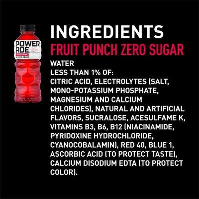 Powerade Sugar Fruit Punch, Ion4 Electrolyte Enhanced Fruit Flavored Sugar Calorie Sports Drink W/ Vitamins B3, B6, And B12, Replenish Sodium, Calcium, Potassium, Magnesium