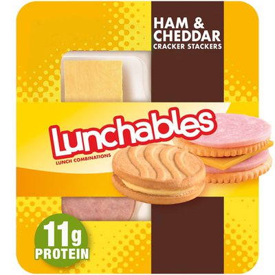 Lunchables Ham & Cheddar Cheese Cracker Stackers Snack Kit with Vanilla Creme Cookies