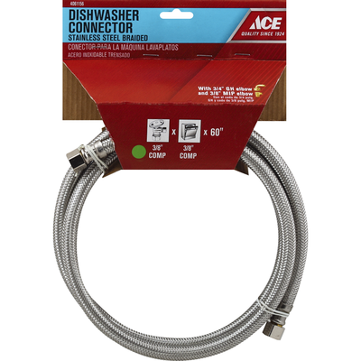 Ace Dishwasher Connector, Stainless Steel, Braided